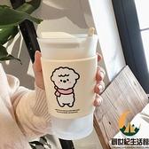 可愛綿羊磨砂玻璃杯咖啡牛奶早餐水杯帶勺【創世紀生活館】