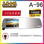 【真黃金眼】 A-96 GPS前後雙錄影+倒車顯影 後視鏡行車紀錄器