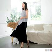 《DA7436-》純色高含棉異材質拼接傘襬背心洋裝 OB嚴選