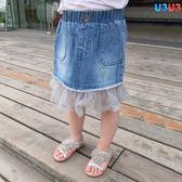 夏裝女童女寶網紗拼接毛邊女寶牛仔半身短裙子假兩件 全館免運