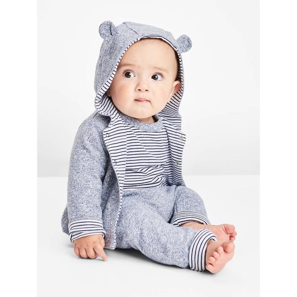 Gap女嬰兒 寶寶柔軟大pp褲兒童長褲正反兩穿 新生兒褲子屁屁褲 592526-鈷藍色