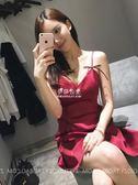 吊帶洋裝女外穿紅色v領小個子露背性感氣質a字裙  伊莎公主