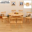【多瓦娜】亞比伸縮功能圓桌一桌六椅/桌椅組/餐廳組合/餐桌/折合桌/餐椅-兩色-129+1705