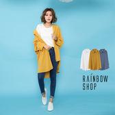 簡約微透膚雪紡長版襯衫-D-Rainbow【A68820B0】