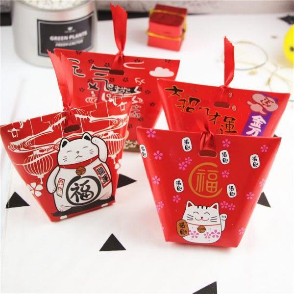 【04561】招財貓包裝紙盒(不含緞帶) 糖果盒 紙盒 送禮 喜糖 新年