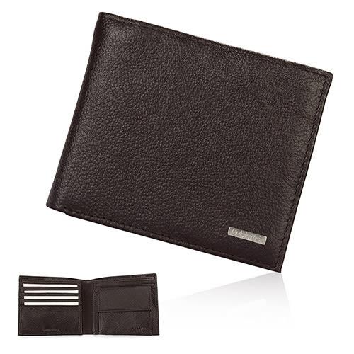CalvinKlein金屬LOGO荔枝紋皮革零錢袋短夾禮盒(深咖啡色)103091-1