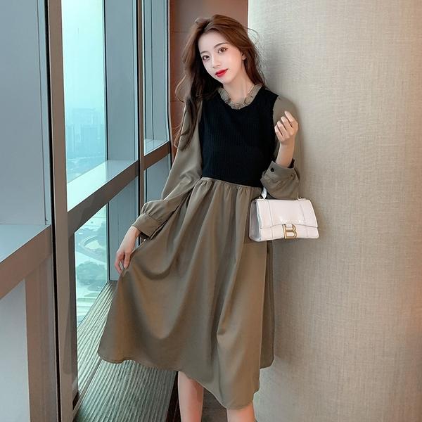 出清388 韓國風優雅拼接假兩件綁帶收腰鏤空長袖洋裝
