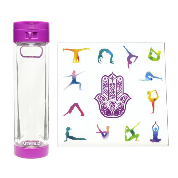 Glasstic │ 安全防護玻璃水瓶 經典式小LO款(紫_瑜珈圖卡) 470ml