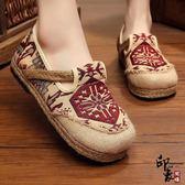 圓頭棉麻民族風女鞋一腳蹬亞麻鞋透氣時尚懶人平底單鞋【印象閣樓】