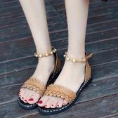 韓版時尚平底涼鞋韓版一字扣帶百搭羅馬涼鞋女鞋