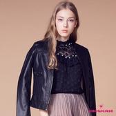 【SHOWCASE】細褶領微透星星縫珠荷葉領短袖蕾絲上衣(黑)