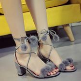 綁帶涼鞋-夏季新款粗跟高跟涼鞋系帶綁帶一字扣帶貂毛毛球綁帶羅馬女鞋 提拉米蘇