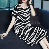 新款針織休閒風黑白不規則條紋寬鬆圓領短袖洋裝 11950082