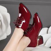 大尺碼女鞋純愛真皮高跟女粗跟漆皮深口鞋系帶韓版酒紅色大碼皮鞋女 Ic3582『俏美人大尺碼』