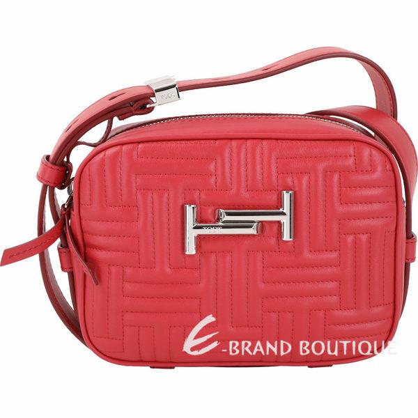 TOD'S Double T 迷你款T字衍縫皮革胸肩背/腰帶相機包(紅色) 1930012-54