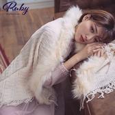 披肩 毛毛滾邊流蘇針織披肩-Ruby s 露比午茶