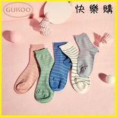 短筒襪 條紋女襪簡約糖果色春秋條紋中筒襪