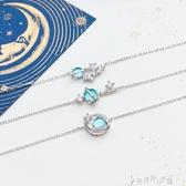 日系S925銀小清新藍琉璃幻想星球宇宙極光行星女手鍊 奇思妙想屋