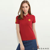 【GIORDANO】女裝馬頭立體刺繡彈力萊卡短袖POLO衫-24 標誌紅