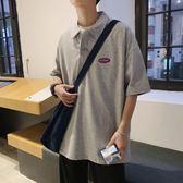 POLO衫 韓版嘻哈hiphopt恤男學生印花寬松短袖Polo衫 巴黎春天