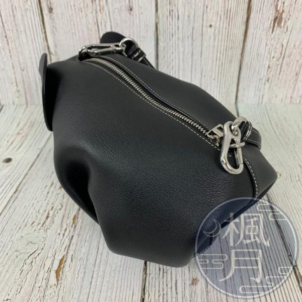 BRAND楓月 LOEWE 立體大象造型 黑色小牛皮 銀色拉鍊 斜背包 手拿包 零錢包