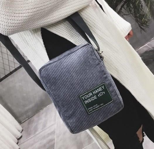 預購-韓國燈芯絨字母貼布肩背斜背包