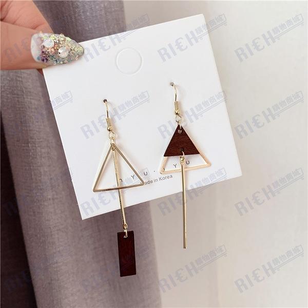 原創復古木質三角不對稱耳環女韓國氣質簡約超仙少女耳釘耳夾