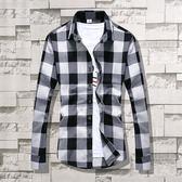秋季長袖格子襯衫男士韓版修身青少年潮流男裝學生寸衫情侶裝外套 美芭