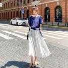 VK精品服飾 韓國風名媛氣質撞色拼接假兩件長版短袖洋裝