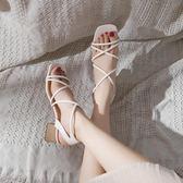 夏季百搭韓版粗跟一字扣女鞋新款軟妹港味鞋子 sxx198 [潘小丫女鞋]