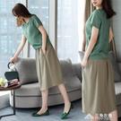 夏季新款時尚寬鬆棉麻套裝女顯瘦洋氣文藝范亞麻裙子兩件套潮 三角衣櫃