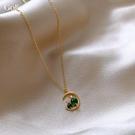 項鍊 綠色月亮貓咪鎖骨鍊女新款ins潮小眾設計頸鍊脖飾精致 - 歐美韓熱銷