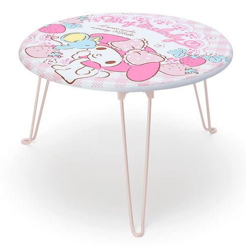 《Sanrio》美樂蒂圓形木製折疊桌(草莓親親) 956414