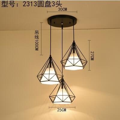 白色2313黑圓盤三頭款北歐餐廳吊燈創意個性餐廳燈飯廳燈現代鐵藝