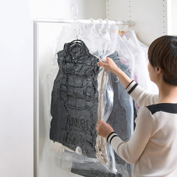 Qmishop 掛式真空衣物壓縮袋 側拉懸掛壓縮袋 收納防塵 吊掛式 掛衣袋【J583】