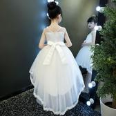 公主裙女童蓬蓬紗兒童禮服小主持人女孩鋼琴演出服花童拖尾婚紗夏