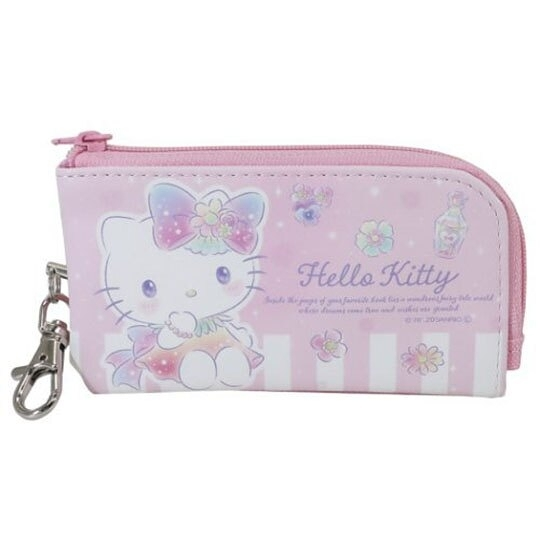小禮堂 Hello Kitty 方形皮質伸縮鑰匙包 票卡零錢包 遙控器包 小物包 (粉 花朵) 4943777-82154