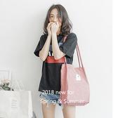 帆布袋 素色 磁釦 帆布袋 文藝 單肩包 環保購物袋--手提/單肩【SPJ28】 BOBI  07/19
