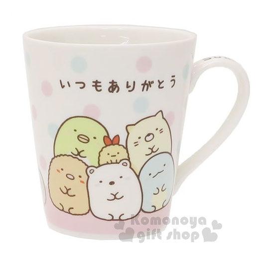 〔小禮堂〕角落生物 陶瓷馬克杯《白.粉綠點點.堆疊》盒裝 4548626-07373