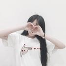 [超豐國際]學生寬松顯瘦刺繡T恤女短袖時尚百搭打底衫上衣夏潮1入