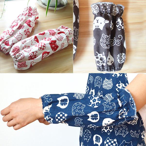 日系可愛貓咪棉麻袖套-兒童款 袖套 廚房用具 親子用品 棉麻材質