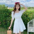甜美系列 法式蕾絲連衣裙女夏2021裙子新款春款仙女裙小個子短袖方領桔梗裙