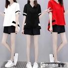 運動套裝 時尚套裝女夏季新款寬鬆大碼女裝兩件套洋氣短袖闊腿短褲二件套