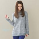NATURE & ESSENCE純粹本質 C013W麻灰色 厚棉雲彩刷毛~修身長袖上衣