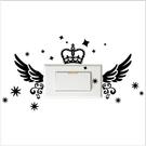 【開關小壁貼】皇冠翅膀 # 壁貼 防水貼紙 汽機車貼紙 10.1cm x 10.2cm