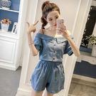 套裝女夏2018新款韓版氣質一字領吊帶牛仔上衣 松緊腰闊腿短褲女