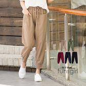 棉麻褲素面羅紋抽繩大口袋下縮口褲-5色(M-XL)~funsgirl芳子時尚