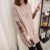 中長款民族風套頭韓版寬松毛衣女裝秋冬季新款半高領針織衫毛衣裙-黑色地帶
