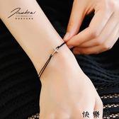 十字架黑繩手鍊女