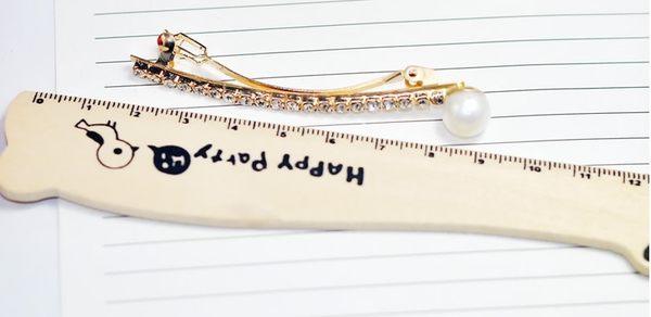 [協貿國際]  珍珠閃鑽水鑽一字彈簧夾髮夾邊夾頭飾 (4個價)